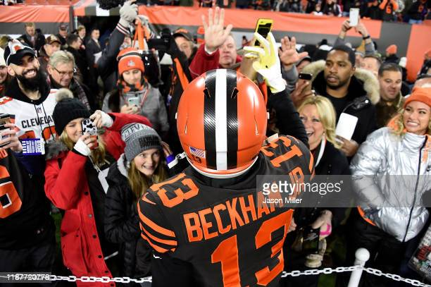 Wide receiver Odell Beckham of the Cleveland Browns meets with fans before the game against the Pittsburgh Steelers at FirstEnergy Stadium on...