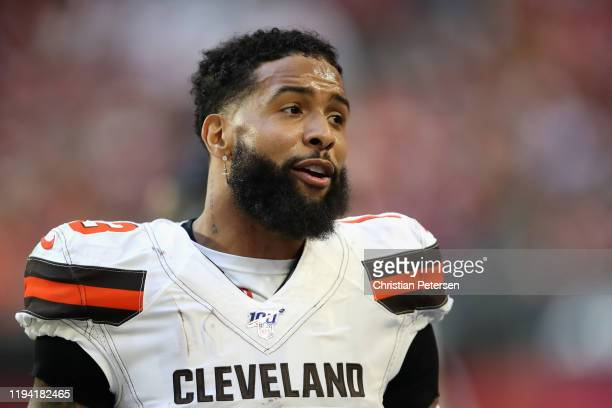 Wide receiver Odell Beckham of the Cleveland Browns stands on the sidelines during the second half of the NFL game against the Arizona Cardinals at...