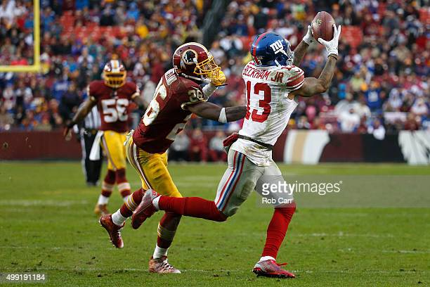 Wide receiver Odell Beckham of the New York Giants catches the ball past cornerback Bashaud Breeland of the Washington Redskins in the third quarter...