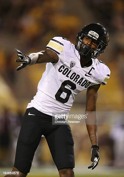 Wide receiver Paul Richardson of the Colorado Buffaloes during the college football game against the Arizona State Sun Devils at Sun Devil Stadium on...