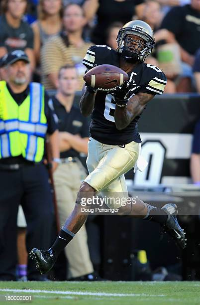 Wide receiver Paul Richardson of the Colorado Buffaloes makes a 45 yard touchdown reception against the Central Arkansas Bears to take a 70 lead in...