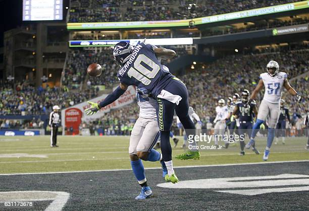 Wide receiver Paul Richardson of the Seattle Seahawks brings in a onehanded catch for a touchdown against the Detroit Lions in the NFC Wild Card game...
