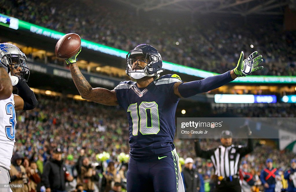 Wide receiver Paul Richardson #10 of the Seattle Seahawks celebrates after making a one-handed touchdown catch against the Detroit Lions in the NFC Wild Card game at CenturyLink Field on January 7, 2017 in Seattle, Washington.
