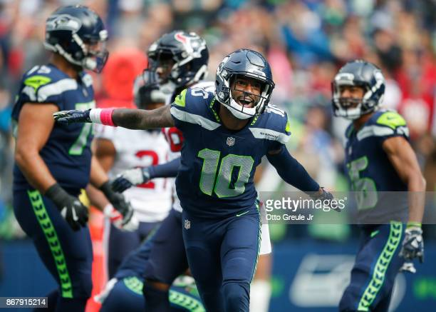 Wide receiver Paul Richardson of the Seattle Seahawks celebrates a touchdown during the first quarter of the game against the Houston Texans at...