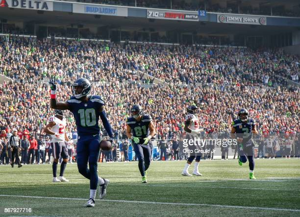 Wide receiver Paul Richardson of the Seattle Seahawks celebrates his touchdown against the Houston Texans during the second quarter of the game at...