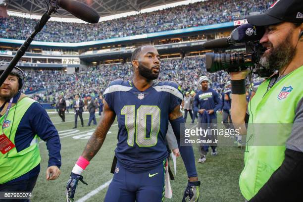 Wide receiver Paul Richardson of the Seattle Seahawks heads off the field after beating the Houston Texans 4138 at CenturyLink Field on October 29...