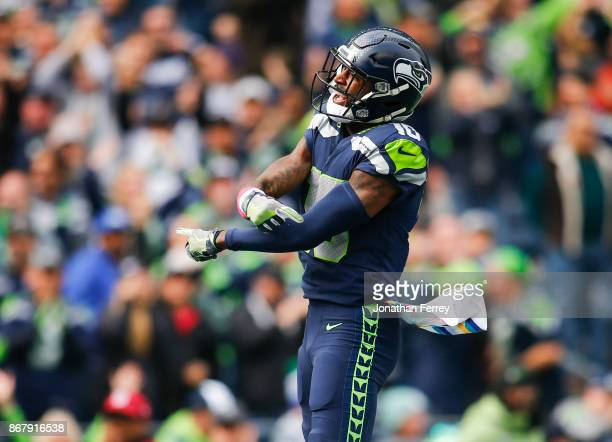Wide receiver Paul Richardson of the Seattle Seahawks jumps up as he celebrates his touchdown during the first quarter of the game at against the...