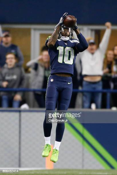 Wide receiver Paul Richardson of the Seattle Seahawks makes a 37 yard catch against the Indianapolis Colts in the second quarter of the game at...
