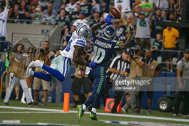 Wide receiver Paul Richardson of the Seattle Seahawks makes a touchdown catch against Morris Claiborne of the Dallas Cowboys at CenturyLink Field...