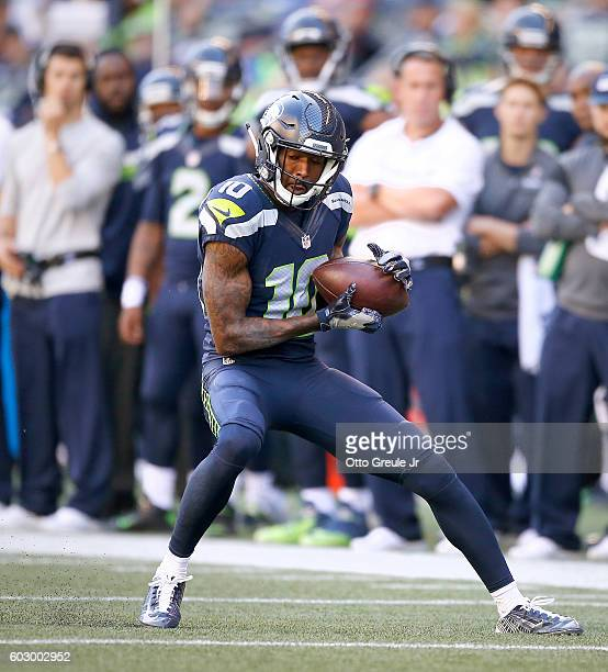 Wide receiver Paul Richardson of the Seattle Seahawks makes a reception against the Miami Dolphins in the second half at CenturyLink Field on...