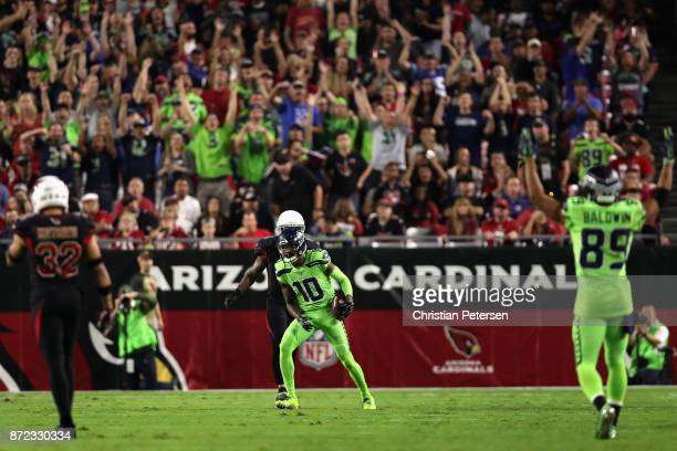 Wide receiver Paul Richardson of the Seattle Seahawks reacts after a 43 yard reception against the Arizona Cardinals during the first half of the NFL...