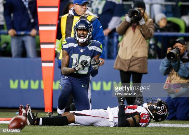 Wide receiver Paul Richardson of the Seattle Seahawks reacts after having the pass broken up by cornerback Robert Alford of the Atlanta Falcons...