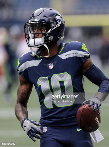 Wide receiver Paul Richardson of the Seattle Seahawks runs with the ball during warm ups before a game against the San Francisco 49ers at CenturyLink...