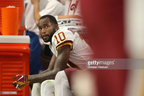 Wide receiver Paul Richardson of the Washington Redskins on the sidelines during the NFL game against the Arizona Cardinals at State Farm Stadium on...