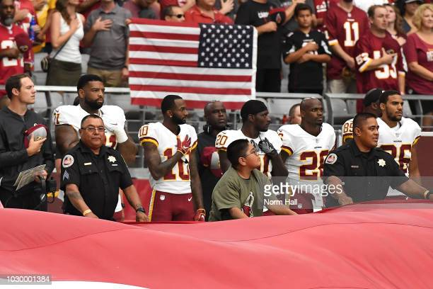 Wide receiver Paul Richardson of the Washington Redskins stands for the National Anthem before the game against the Arizona Cardinals at State Farm...