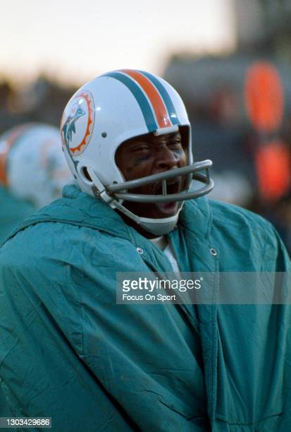 Wide receiver Paul Warfield of the Miami Dolphins looks on from the sidelines during an NFL football game circa 1970 at the Orange Bowl in Miami,...