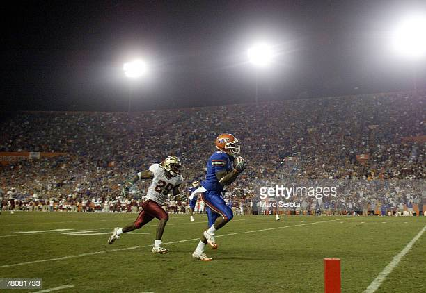 Wide Receiver Percy Harvin of the Florida Gators catches a touchdown against the Florida State Seminoles at Ben Hill Griffin Stadium November 24 2007...