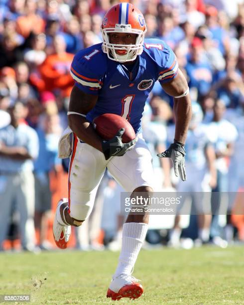 Wide receiver Percy Harvin of the Florida Gators runs for a touchdown in the second quarter against the Citadel Bulldogs during the game at Ben Hill...