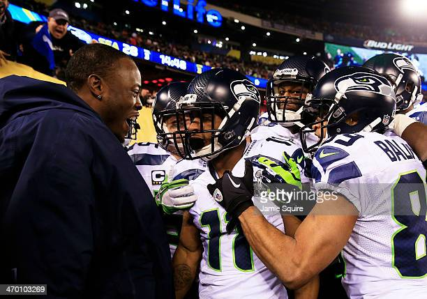 Wide receiver Percy Harvin of the Seattle Seahawks celebrates his 2nd half kickoff return during the third quarter of Super Bowl XLVIII at MetLife...