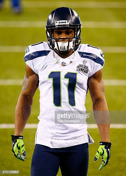 Wide receiver Percy Harvin of the Seattle Seahawks during Super Bowl XLVIII against the Denver Broncos at MetLife Stadium on February 2 2014 in East...