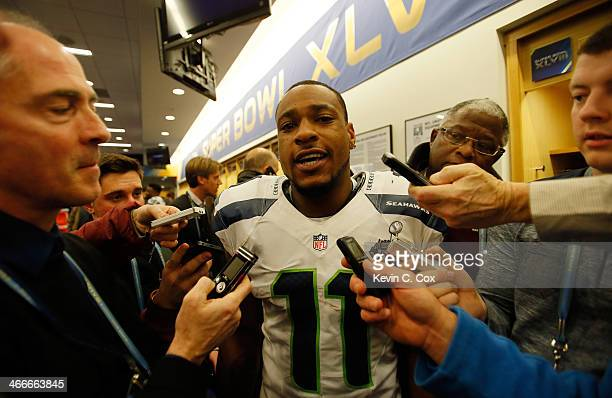 Wide receiver Percy Harvin of the Seattle Seahawks is interviewed by the media after their 438 win over the Denver Broncos during Super Bowl XLVIII...