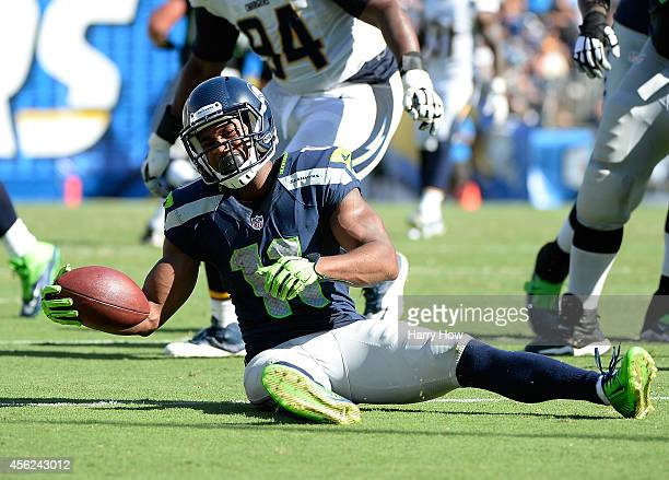 Wide receiver Percy Harvin of the Seattle Seahawks reacts after a tackle against the San Diego Chargers at Qualcomm Stadium on September 14 2014 in...