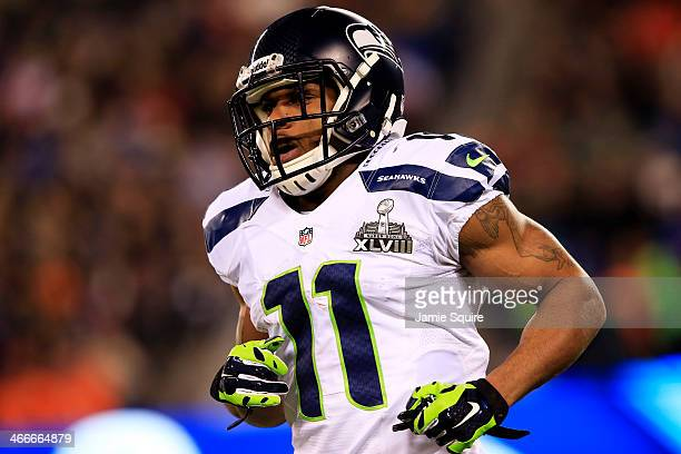 Wide receiver Percy Harvin of the Seattle Seahawks runs during Super Bowl XLVIII against Denver Broncos at MetLife Stadium on February 2 2014 in East...