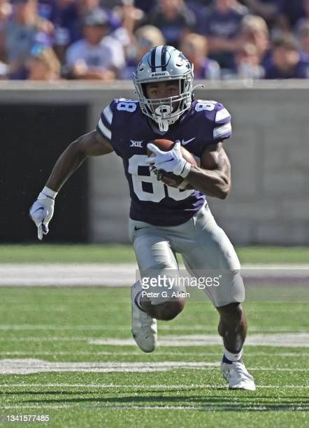 Wide receiver Phillip Brooks of the Kansas State Wildcats runs up field during the second half against the Nevada Wolf Pack at Bill Snyder Family...