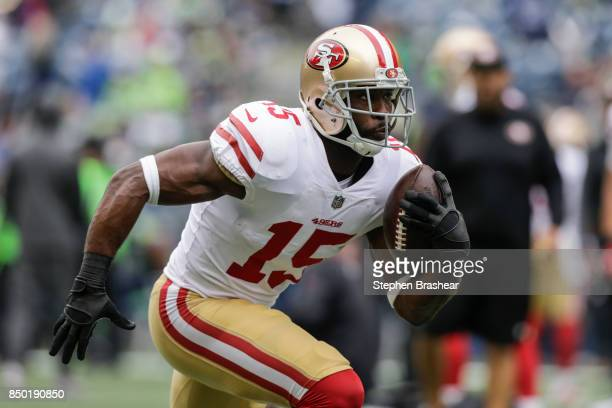 Wide receiver Pierre Garcon of the San Francisco 49ers runs with the ball during warm ups before a before a game against the Seattle Seahawks at...