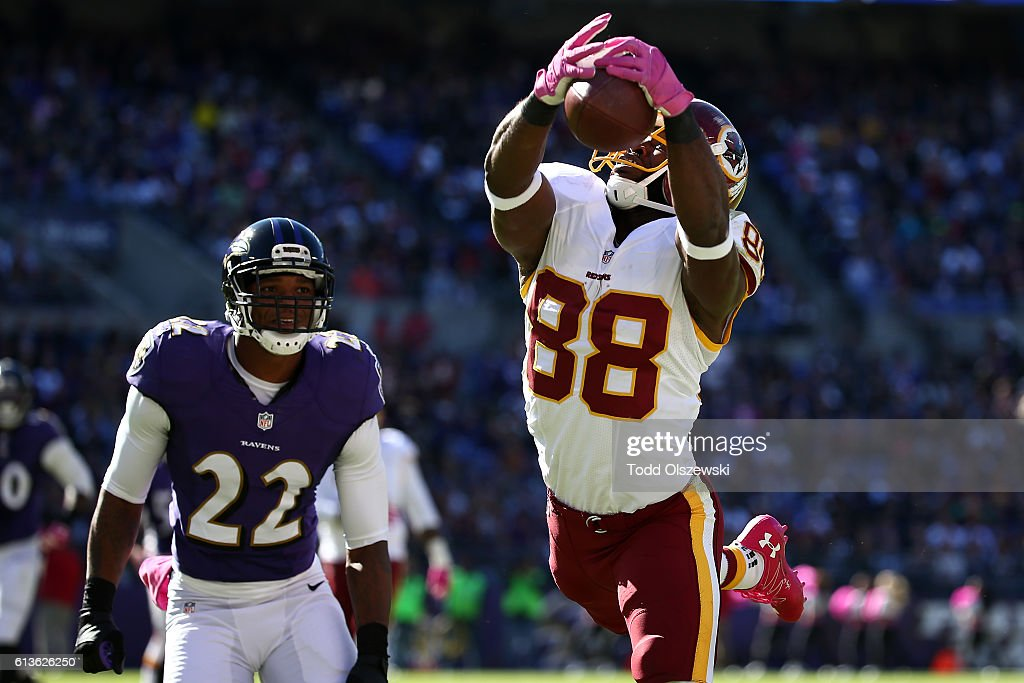 Wide receiver Pierre Garcon #88 of the Washington Redskins catches a touchdown in the second half against the Baltimore Ravens at M&T Bank Stadium on October 9, 2016 in Baltimore, Maryland.