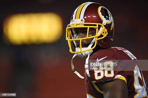 Wide receiver Pierre Garcon of the Washington Redskins looks on during pregame against the New York Giants at FedExField on September 25 2014 in...
