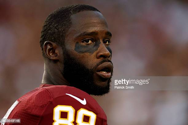 Wide receiver Pierre Garcon of the Washington Redskins looks on prior to a game against the Pittsburgh Steelers at FedExField on September 12 2016 in...