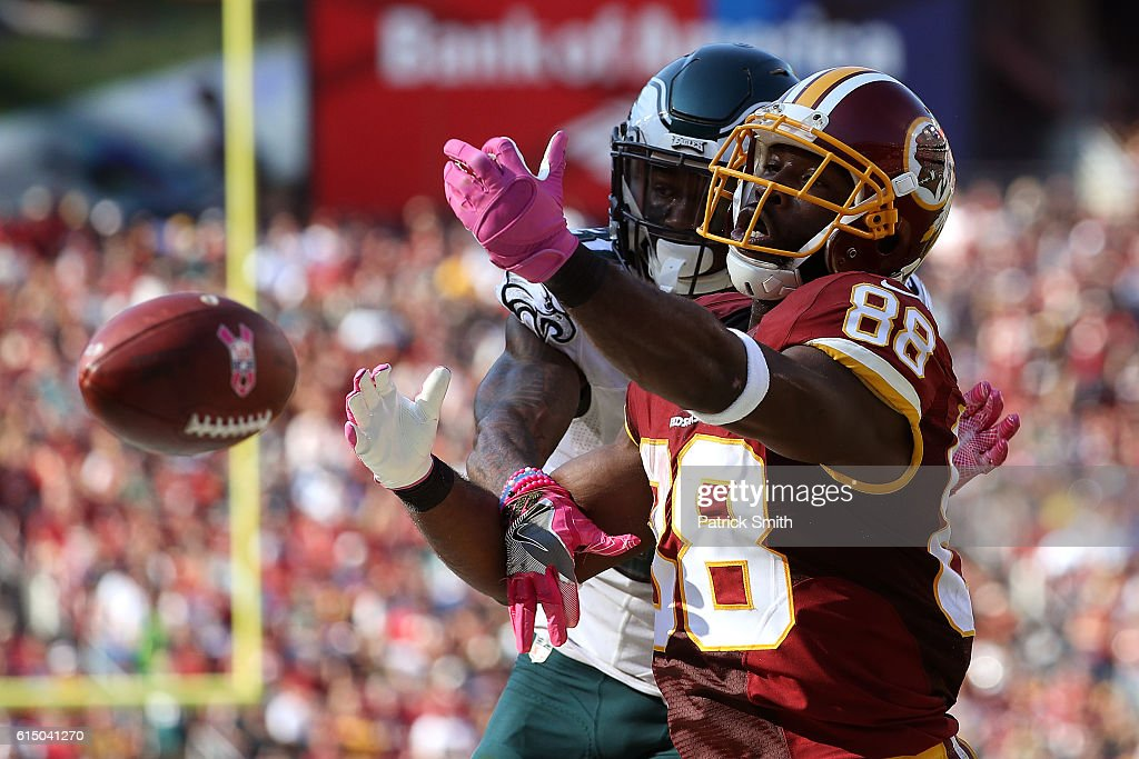 Wide receiver Pierre Garcon #88 of the Washington Redskins misses a catch while free safety Jalen Mills #31 of the Philadelphia Eagles defends in the third quarter at FedExField on October 16, 2016 in Landover, Maryland.