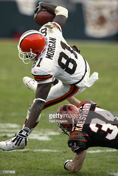 Wide Receiver Quincy Morgan of the Cleveland Browns is brought down during the NFL game against the Cincinnati Bengals at Paul Brown Stadium on...