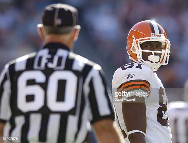 Wide receiver Quincy Morgan of the Cleveland Browns looks towards an official after disagreeing with a call during the preseason game against the...