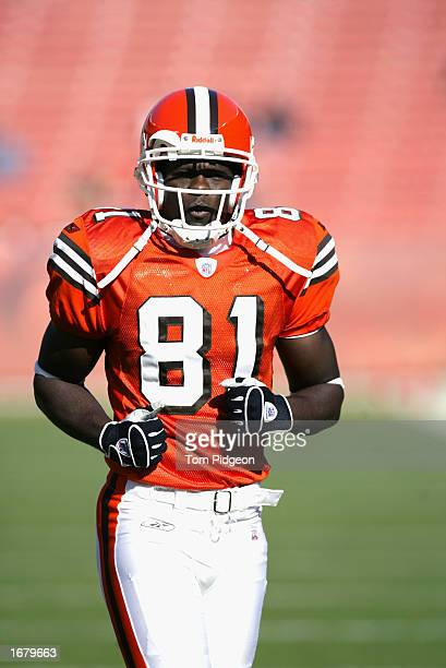 Wide receiver Quincy Morgan of the Cleveland Browns on the field before the NFL game against the Houston Texans at Cleveland Browns Stadium on...