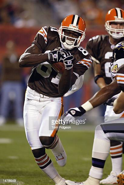 Wide receiver Quincy Morgan of the Cleveland Browns runs with the ball during the NFL game against the Baltimore Ravens on October 6 2002 at...
