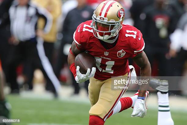 Wide Receiver Quinton Patton of the San Francisco 49ers has a big gain against the New York Jets at Levi's Stadium on December 11 2016 in Santa Clara...