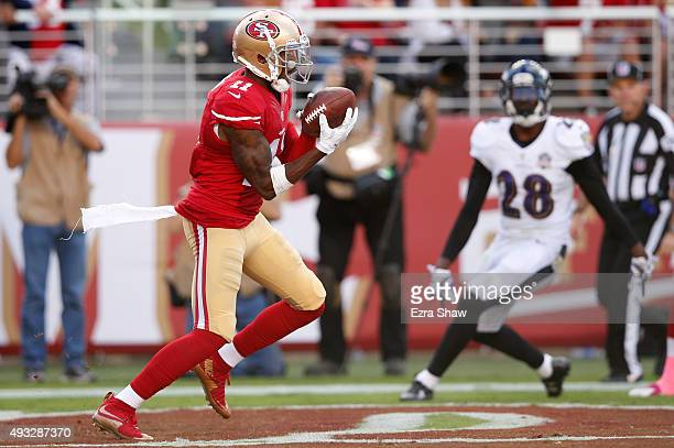 Wide receiver Quinton Patton of the San Francisco 49ers makes a 21yard touchdown catch against the Baltimore Ravens during their NFL game at Levi's...
