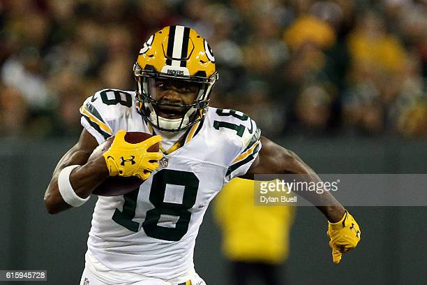 Wide receiver Randall Cobb of the Green Bay Packers carries the ball against the Chicago Bears in the second quarter at Lambeau Field on October 20...