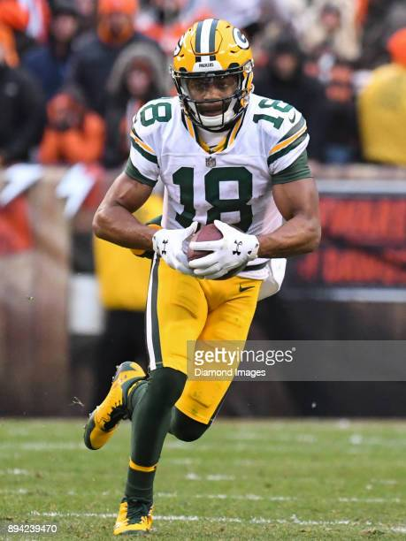 Wide receiver Randall Cobb of the Green Bay Packers carries the ball downfield in the fourth quarter of a game on December 10 2017 against the...
