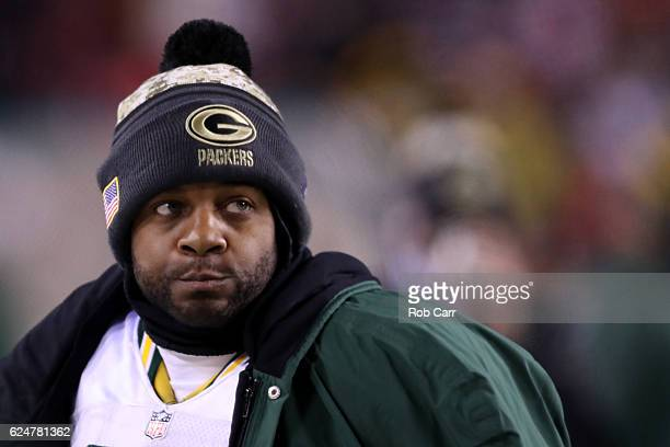 Wide receiver Randall Cobb of the Green Bay Packers looks on from the sidelines against the Washington Redskins in the fourth quarter at FedExField...