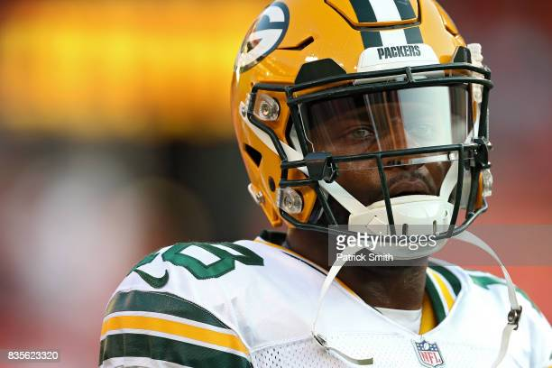 Wide receiver Randall Cobb of the Green Bay Packers looks on in warmups before playing the Washington Redskins during a preseason game at FedExField...