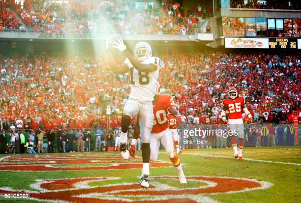Wide receiver Randy Moss of the Oakland Raiders pulls in his only catch of the day, a seven yard touchdown against cornerback Dewayne Washington of...