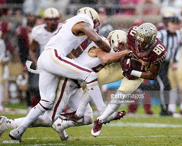 Wide Receiver Rashad Green of the Florida State Seminoles makes a catch during the game against the Boston College Eagles at Doak Campbell Stadium on...