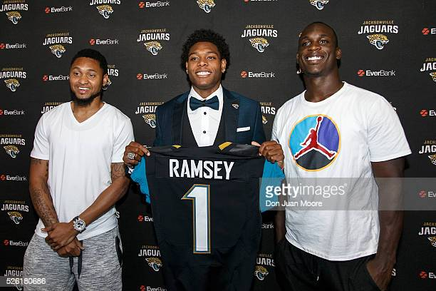 Wide Receiver Rashad Greene Cornerback Jalen Ramsey and Linebacker Telvin Smith of the Jacksonville Jaguars pose together for a photo after a press...