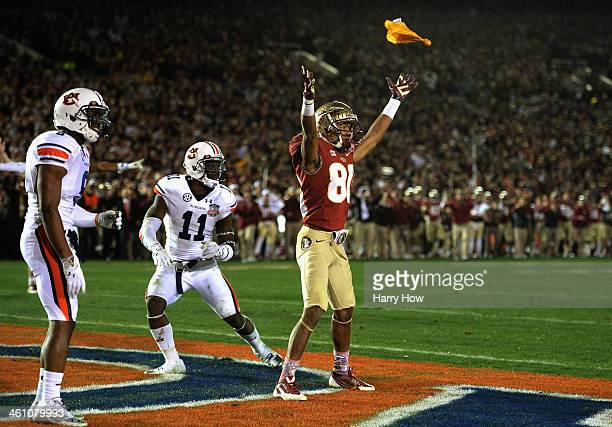 Wide receiver Rashad Greene of the Florida State Seminoles calls for a penalty against the Auburn Tigers in the fourth quarter of the 2014 Vizio BCS...