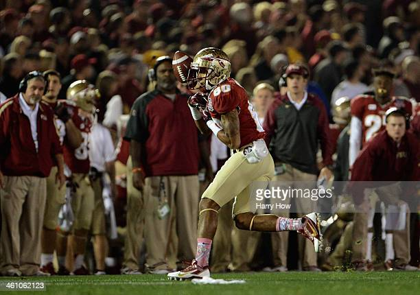 Wide receiver Rashad Greene of the Florida State Seminoles drops a pass in the second quarter of the 2014 Vizio BCS National Championship Game...