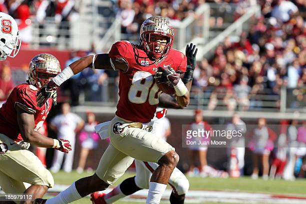 Wide receiver Rashad Greene of the Florida State Seminoles during a pass play against North Carolina State Wolfpack at Bobby Bowden Field at Doak...