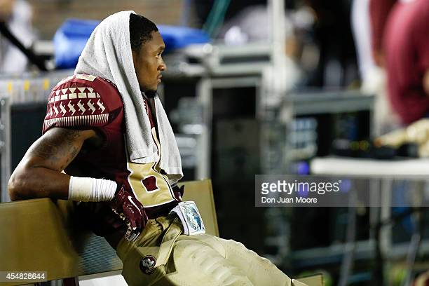 Wide Receiver Rashad Greene of the Florida State Seminoles on the sidelines during the game against the Citadel Bulldogs at Doak Campbell Stadium on...